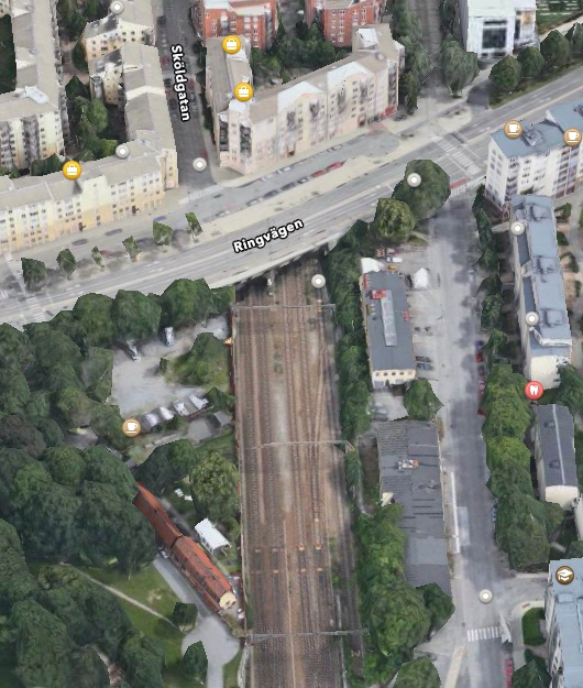 �verd�ckning av S�dra station i Stockholm. Foto Apple Maps